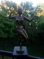 Art deco táncoló hölgy - bronz szobor műtárgy