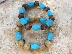 Türkiz ásvány és festett fa golyók uniszex barátság karkötő