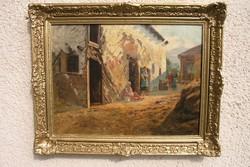 """Nádler Róbert (1858-1938) - """"Beszélgetők!"""" -  életkép"""