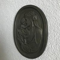 Mária Kis Jézussal nehéz falikép certifikáttal a hátulján.