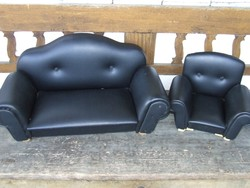 Régi nagyméretű játék bababútor, baba ülőgarnitúra: kanapé és fotel egyben