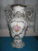 Hollóházi barokk váza, 24 karátos arannyal festve, 36 cm