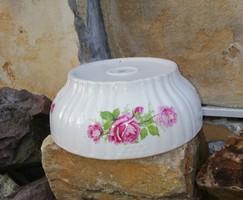 Zsolnay Gyönyörű rózsás porcelán tál, pogácsás tál, paraszti dekoráció, Gyűjtői darab, nosztalgia