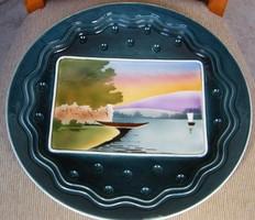 Antik nagyméretű majolika tányér, falitányér! 32 cm
