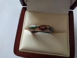 Szép aranyozott zománcozott  antik gyűrű