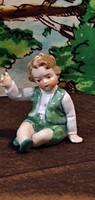 Tündéri, 6 cm.-es, antik, porcelán, kisfiú figura. Hibátlanul.Fasold & Stauch