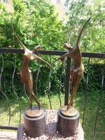 Táncoló női aktok - art deco bronz szobrok