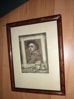 Vén Zoltán: Nagy Balogh János festő portréja, jelzett rézkarc