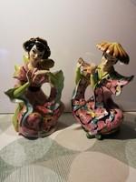 2 db. olasz luxusporcelán  ( méretes, 30 és 31 cm magasak ) nehéz porcelánok
