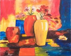 Színes csendélet.Akril festmény 40 cm x 50 cm