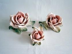 3 db különböző méretű Ens porcelán virág rózsa