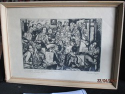 Hincz Gyula /1904-86/ Kossuth és kétszeres Munkácsy díjas festő és grafikus szép régi rézkarca