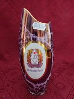 Hollóházi porcelán lüsztermázas váza, Debrecen Hajdu kupa 1971, magassága 20 cm.