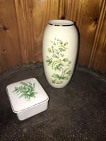 Hollóháza zöld virág mintás váza + ékszertartó