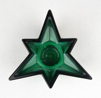 1A425 Régi malachit zöld Bohemia üveg gyertyatartó