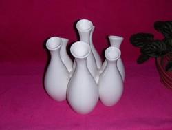 Hétnyakú mázas fehér kerámia váza ritkaság (ap)