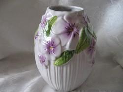 Antik szecessziós majolika sorszámozott váza