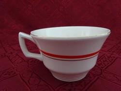 Gránit magyar porcelán, piros csíkos teáscsésze.