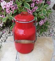 2 literes piros Lampart , zománcos tejeskanna, kanna, nosztalgia darab