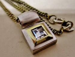 Szép art deco ezüst nyaklánc kék köves medállal
