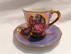 Romantikus jelenetes porcelán csésze és alj (1)