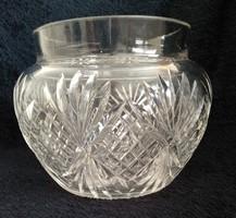 Öblös kristályváza  12 cm magas, haskörméret 47 cm, szájnyílás átmérő 10 cm