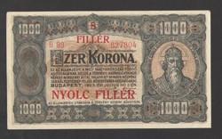 "1000 korona 1923. ""8 FILLÉR"" Fb.!! HAJTATLAN!! aUNC!! RITKA!!"