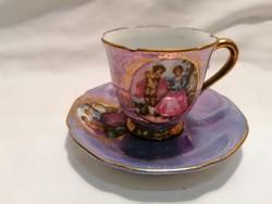 Romantikus jelenetes porcelán csésze és alj (3)