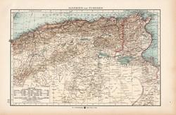 Algéria és Tunézia térkép 1904, eredeti, Moritz Perles, német, atlasz, régi, Afrika, észak