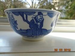 """Máz alatt kobaltkékkel festett kínai tál """"a három bölcs"""" mintával panoramikus tájban"""