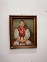 """Olaj karton festmény. Szirmayné Bayer Éva portré """"Szuloki kislány"""""""