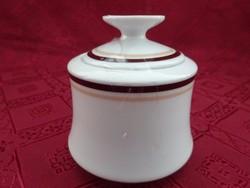 Alföldi porcelán barna csíkos cukortartó, magassága 9 cm.
