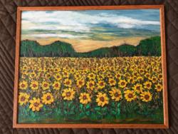 Virágzó napraforgó tábla