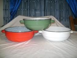 Régi zománcos tál - három darab - piros, fehér, zöld