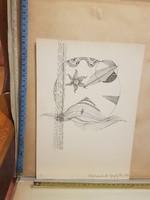 Gergely Péter: Világteremtés III., 1972, tus, méret jelezve