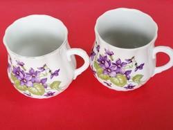 Zsolnay ibolyás pocakos csésze párban