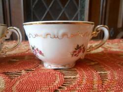 Zsolnay barokk, tollazott, ritka rózsa mintás kávés csészék