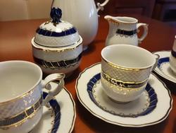 Gyönyörű hollóházi kávéskészlet - kék rózsa