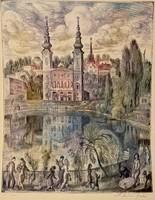 Szabó Vladimir rézkarca: A Feneketlen tó, hibátlan, kiállítási minőségben