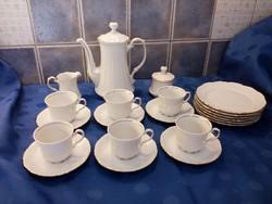 Bavaria Mitterteich porcelán teás, kávés reggeliző készlet 6 személyes