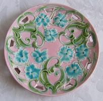 Antik szecessziós áttört majolika tányér!