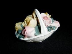 Nagyon szép Ens porcelán kosár rózsával