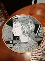 Hollóházi Szász Endre porcelán tányér,falitányér 25 cm Pillangós