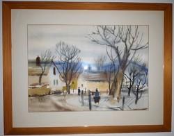 AKCIÓ Munkácsy-díjas Szalóky Sándor 60x46cm akvarell