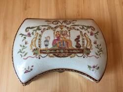 Angol historizáló antik porcelán kerámia doboz bonbonier