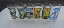 Régi retro különböző mintás boros pohár (Egri bikavér, Baltonfüredi rizling)