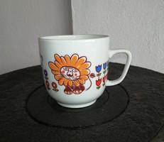 Retro Hollóházi oroszlános csésze, kicsi bögre, Gyűjtői szépség,nosztalgia darab, figurás