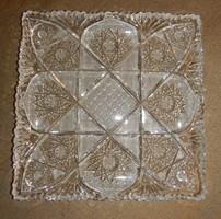 Négyzet alakú kristály tál