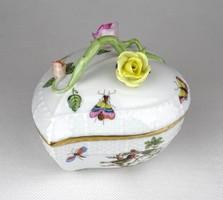 1A618 Herendi Rothschild mintás porcelán bonbonier