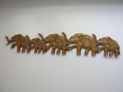 1 MÉTERES elefánt sor faragott fa fali dísz